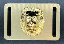 Vintage Brass Belt Buckle With Lions Head