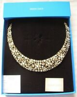 HEIDI DAUS WHITE  & GOLD CRYSTAL FANTASY FLORAL CHOKER NECKLACE NEW IN BOX