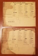Vintage Allis Chalmers Dealers Delivery Record w/ Service Cards