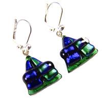 DICHROIC Glass Earrings Blue Green Emerald Chunky Triangles Lever Dangle 15mm