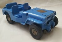 "7.5"" Vintage Louis Marx & Co. MAR TOY BLUE JEEP Jerry can hard plastic metal"
