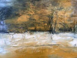 Original, mixed media abstract landscape art work on canvas. 1450 x145mm Framed