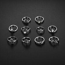 10pc/Set Boho Women Stack Plain Above Knuckle Ring Midi Finger Tip Rings Silver