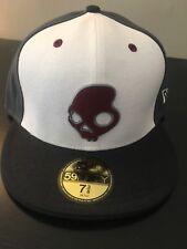 """SkullCandy White Gray Black 7 3/8"""" Fitted Sample hat cap"""