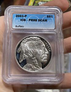 2001 P Proof Smithsonian Buffalo Silver Dollar Coin PR 68 DCAM ICG