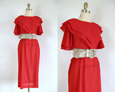 New listing Vintage 1980s Red Knit Dress with Ruffled Collar and Sleeves Size M by Blair