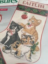 """Christmas Kittens 16"""" Stocking Needlepoint Kit Vtg Needle Treasures Cat Ornament"""