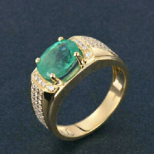 Antique Natural Green Emerald Diamond Engagement Men Ring Solid 14K Yellow Gold