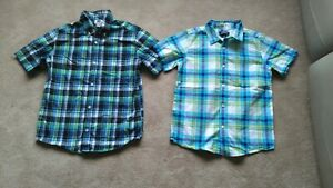 Boys 10-12 Husky Short sleeve plaid Button Down Shirts Old Navy Lands End