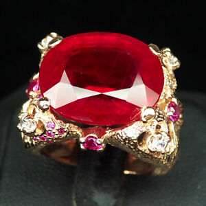RUBY BLOOD RED OVAL 27.40 CT. SAPPHIRE 925 STERLING SILVER ROSE GOLD RING SZ 7