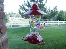 20 oz. Clear Glass with Large Colored Optic Dimples Hummingbird Bird Feeder