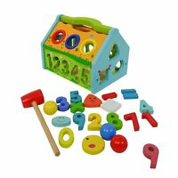 Eliiti 2-in-1 Wooden Pounding and Sorting Math Toy for Kids 3 to 5 Years Old