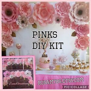 Paper Flower Pinks  Backdrop DIY Kit