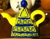 Teapot Yellow Blue & Green Pyramid Square Design 1998 UNUSED Beautiful