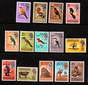 BECHUANALAND.1961 DEFINITIVES SET (14). BIRDS,ANIMALS.MOUNTED MINT SG# 168-181