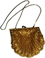 Vintage Gatsby Clutch Evening Purse, Gold Beading Sequins Satin Inner -Pristine