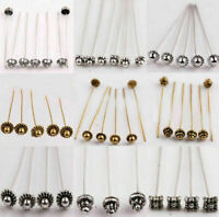20Pcs Silver Gold Plated Metal Crown/Ball Head Pins Findings Jewelry Making 50mm