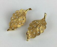 Vintage Gold Plated Pennino Leaf Clip-On Earrings 3.7cm High