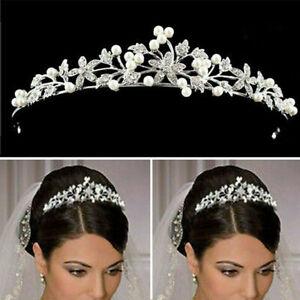 Tiara Diadem Krone Perle Strass Kristall Brautschmuck Hochzeit  Silber Elegant