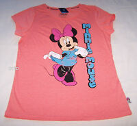 Disney Minnie Mouse Ladies Coral Printed Short Sleeve T Shirt Size XXS New