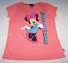 Disney Minnie Mouse Ladies Coral Printed Short Sleeve T Shirt Size S New
