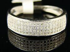 10k Mens White Gold Round Cut Pave Wedding Band Ring 1/3 Ct