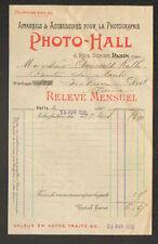 """PARIS (IX°) APPAREILS & ACCESSOIRES de PHOTOGRAPHIE """"PHOTO-HALL"""" en 1905"""