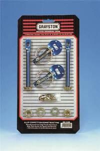 Grayston Competition Bonnet Pin Kit Aluminium Anodised Blue
