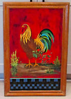 "Vintage Folk Wall Art Chicken Rooster Original Painting Wood Signed 16.5"" x 25"""