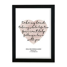 More details for elvis can't help falling in love heart print music song lyric personalised gift