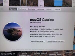 Mac Mini 2012 I5 Dual Core 2.5Ghz 16Go Ram Stockage 1.5To