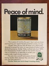 Vintage 1971 Original Print Ad Quaker State De Luxe Motor Oil ~Peace of Mind~