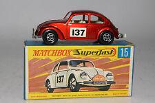 MATCHBOX SUPERFAST #15 VOLKSWAGEN VW 1500 SALOON BEETLE, METALLIC RED, BOXED