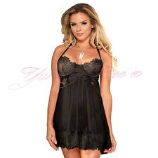 Yummy Bee Lingerie Babydoll Dress Set Lace Sleepwear Black Sexy Plus Size 8-22