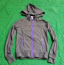 IVIVVA SIZE 10 TRAIL RUNNER JACKET WINDBREAKER GRAY PURPLE TRIM REMOVABLE HOOD