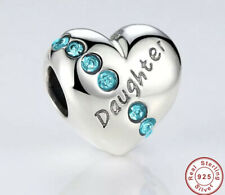 New 925 Sterling Silver DAUGHTER Heart Love Blue Cz Charm For Bracelets 💝