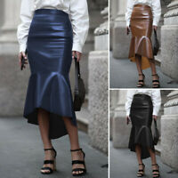 UK Womens High Waist Skirts PU Leather Skirt Plus Size Solid Party Bodycon Dress