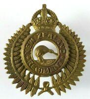 New Zealand Rigiment Cap Badge - M & K LTD WCTN N.Z - 2 Lugs - Brass KC