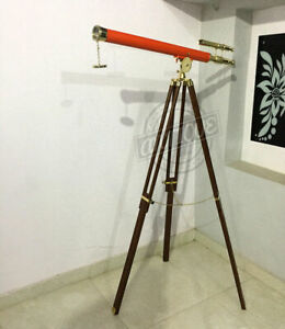 Valentine Marine Article Orange Leather Classic Telescope with Wooden Brass T