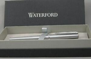 Waterford Glendalough Satin Steel & Chrome Rollerball Pen - New In Box - 75% Off
