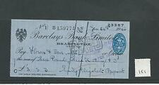 wbc. - CHEQUE - CH151 - USED -1940s - BARCLAYS BANK, HEADINGTON OXFORD sm format