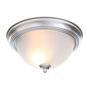 Brushed Nickel 2-Light Flush Mount Fixture 13 in. Frosted Glass Shade 2-Pack