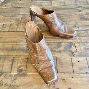 Sz 9 {Antonio Melani} Tooled Leather Mule