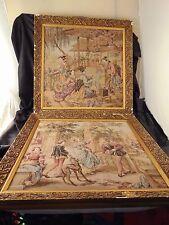 2 Tapestry art wall hangings gold wood frame vtg garden flowers courting decor