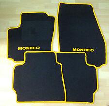 Autoteppich Fußmatten  für Ford Mondeo 2000' - 2006' schwarz-gelb Neu 4teilig