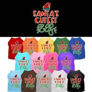 Santa's Cutest Elf Screen Print Pet Puppy Cat Dog Shirt