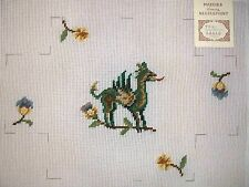 "EP 1061 Vintage Preworked ""Medieval Dragon Brick Cover"" Needlepoint Canvas"
