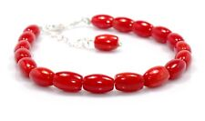 """Natural Coral Bracelet Sterling Silver Bead Jewelry 6.5"""" 7.5"""" Birthday Gift Sale"""