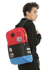 Mario Kart 8 Racer Patch Flat Front Backpack School Book Bag Super Nintendo NEW