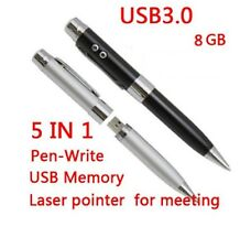 BLACK 8GB 5 IN 1 Pen - USB Flash Drive - Red Laser Pointer - UV & LED Light blk